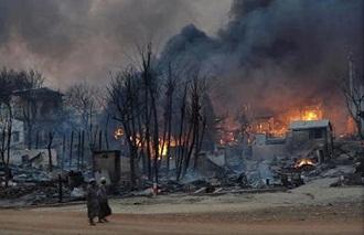 kampung rohingnya dibakar